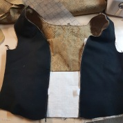 Laying out the bodice and the brustfleck/stomacher. The edges of the twill tape are visible - I hadn't trimmed them yet.