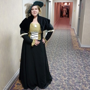 Photo of me in my Cranach Gown taken by Dean at the event.