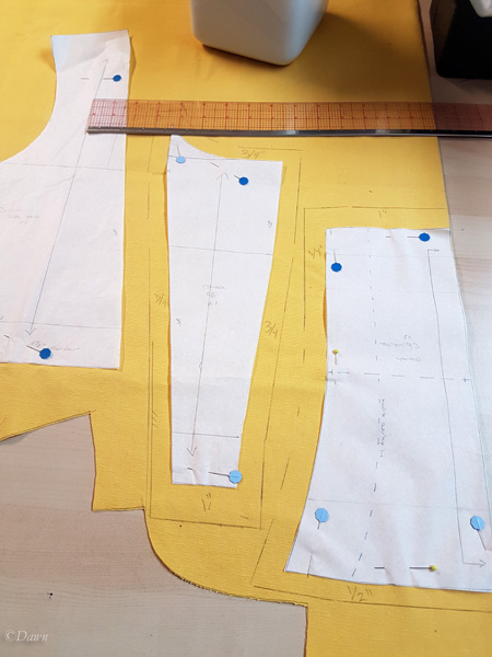 Cutting out the second toile for the Cranach Gown costume bodice - I marked the seam allowances directly on the fabric.