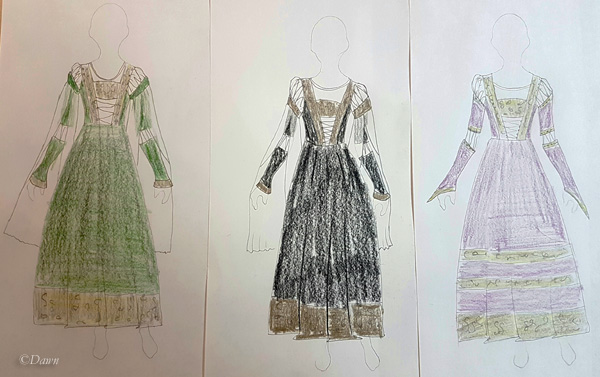 Concept sketches for my German Renaissance Cranach Gown costume.