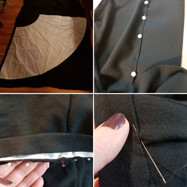Construction steps in the creation of the Cranach gown skirt. Cutting out one of the 1/4 circles, pinning the placket in place on the opening, pinning the waistband in place, and hand-finishing the waistband.