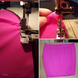 Collage of the steps making my hot pink 80s-style mini skirt