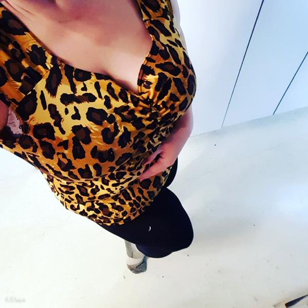 Leopard-print spandex retro-style top