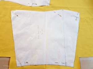 Cutting out the sleeve toile