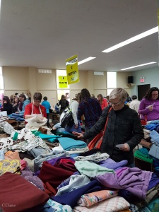 Lots of shoppers at the 2017 Grandmother's fabric sale.