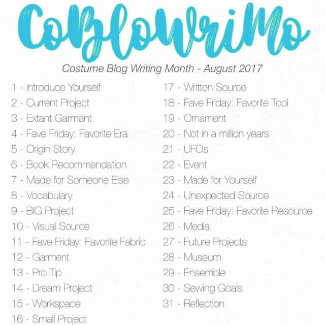 CoBloWriMo - Costume Blog Writing Month