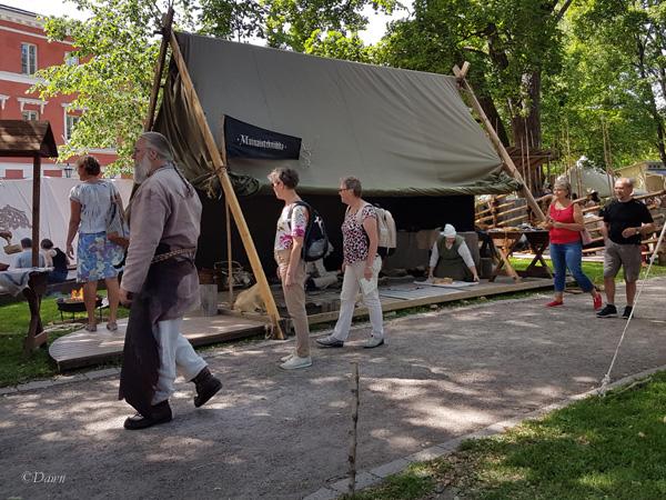 A huge A-Frame tent at the Turku Medieval Market.