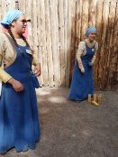 Volunteers teaching games at the Turku Medieval Market