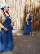 Volunteers teaching games at the Turku Medieval Market