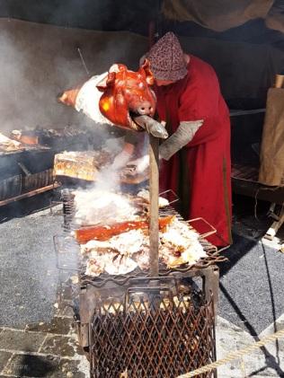 Roasted pig at the Turku Medieval Market