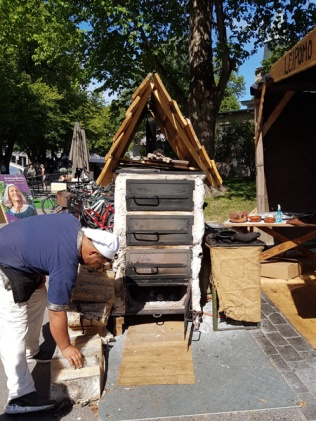 A wood-fired oven at the Turku Medieval Market