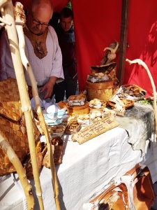 This vendor had a selection of cookies and baked goods displayed in birch bark boxes for sale at the Turku Medieval Market.