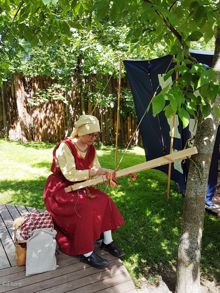 Weaving being done by a member of the Finnish SCA group at the Turku Medieval Market