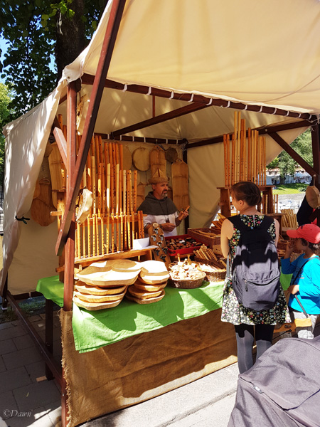 One of the vendors at the Turku Medieval Market selling wooden items