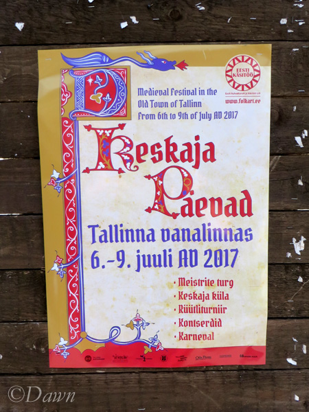 The poster for the Medieval Market in Tallinn, Estonia.
