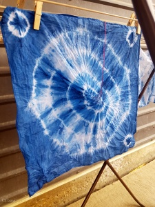 The Baroness of Montengarde tied her hankie in a bullseye pattern, before dyeing it with indigo.
