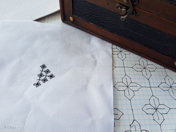 Beginner blackwork class started with a piece of graph paper