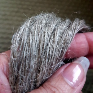 Handspun flax (linen) yarn from a drop spindle