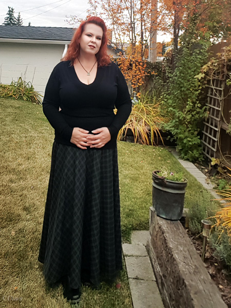 A long plaid bias skirt inspired by an Edwardian Historical Sew Monthly challenge for the November 2017 challenge - Inspiration.