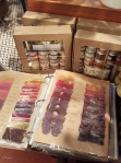 Swatch book showing off different natural dye combinations at Maiwa Supply in Vancouver (Granville Island location)