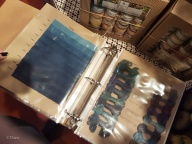 Swatches of indigo natural dye on different materials and with different concentrations