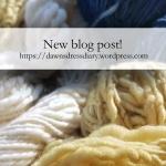 Undyed, Indigo dyed, and Aster-Marigold dyed handspun wool