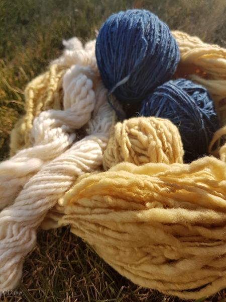 Undyed, Indigo dyed, and Aster-Marigold dyed handspun wool