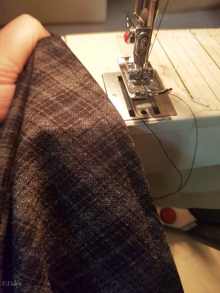 A narrow hem on my plaid circle skirt