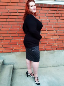 Bias printed plaid knit fabric made up into a vintage-style pencil skirt