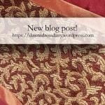 Promo for my red and gold Italian overdress blog post at Dawn's Dress Diary