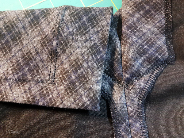 With twin needle stitching the right side of the fabric has a double line of topstitching, while the reverse has a stretchy zig-zag stitch which works well on knits.