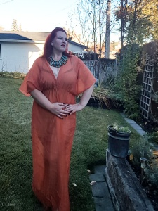 My newest Egyptian costume - an orange loose sheath dress with 'sleeves'