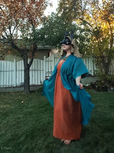 Teal and orange Egyptian costume - worn with an Anubis mask