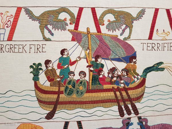 Detail of the Greek Fire segment of the Black Gold Tapestry