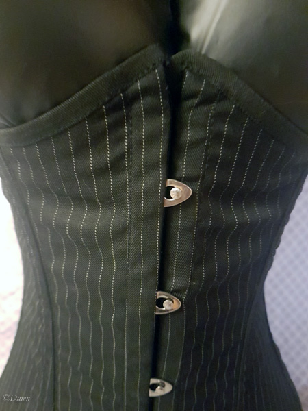 Black pinstripe underbust corset with straps for sale