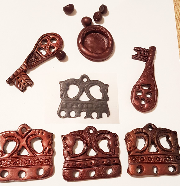 The assortment of clay Viking Age style positive jewellery I made in preparation for bronze casting.