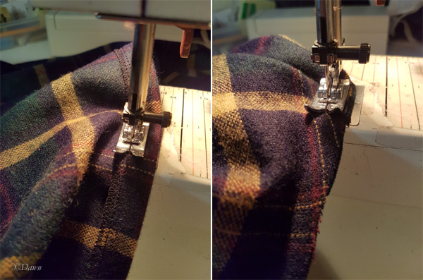 Construction of a wool plaid hooded capelet.