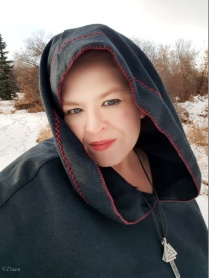 Wearing the Viking Age style hood outside in the snow - over mundane clothing