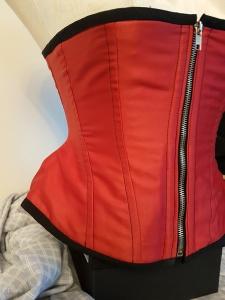 Raspberry red Duchess Satin underbust corset