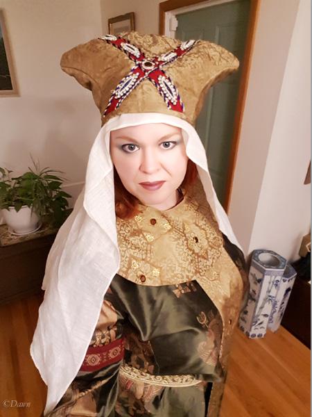 Selfie in my new green silk block printed Byzantine gown with golden silk accessories.