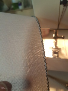 The millinery wire sewn on the buckram with a sewing machine zig zag stitch