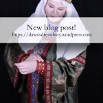 Promotional image for my blog post on Dawn's Dress Diary about my second Byzantine gown - block printed with period-informed ponies!