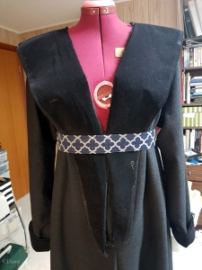 Reviewing the length and fit of the collar - at this point it isn't sewn to the gown yet.