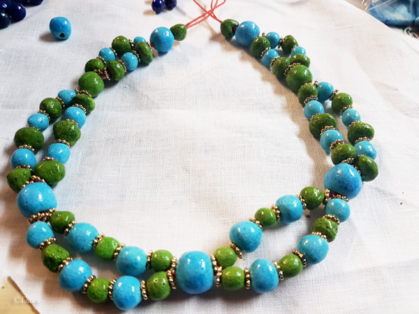 Egyptian faience bead necklace work in progress- rejected design.