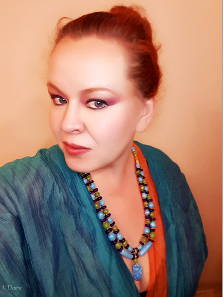 Selfie wearing a hand-made necklace of hand-made Egyptian Faience beads