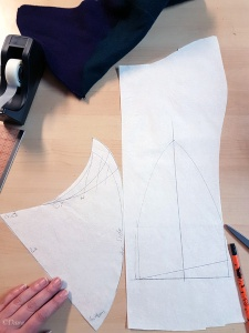 Drafting a fourth version of a 15th century horned hennin hat