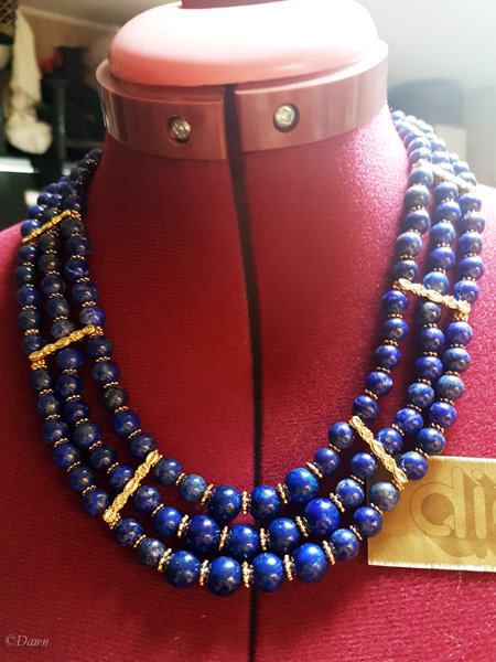 Lapis Lazuli necklace for my Egyptian costume work in progress displayed on my dressform