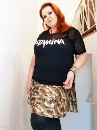 Camo-print circle skater skirt (worn with a modified Stam1na band t-shirt)
