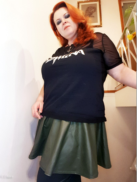Green matte PVC spandex circle skater skirt (worn with my altered Stam1na t-shirt)