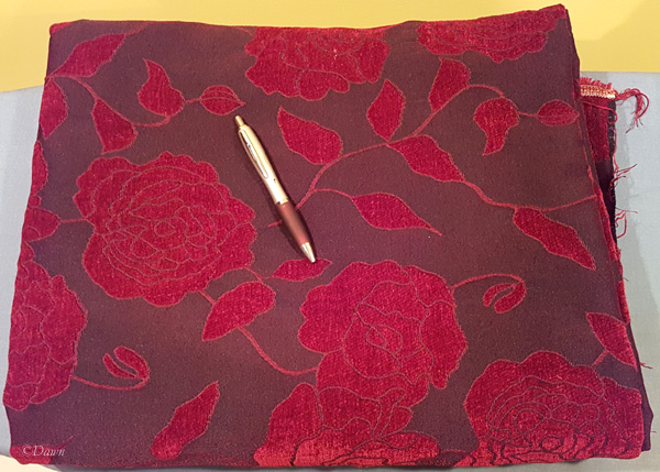 Red and black rose-print chenille upholstery fabric - from the 2018 Grandmother's charity fabric sale